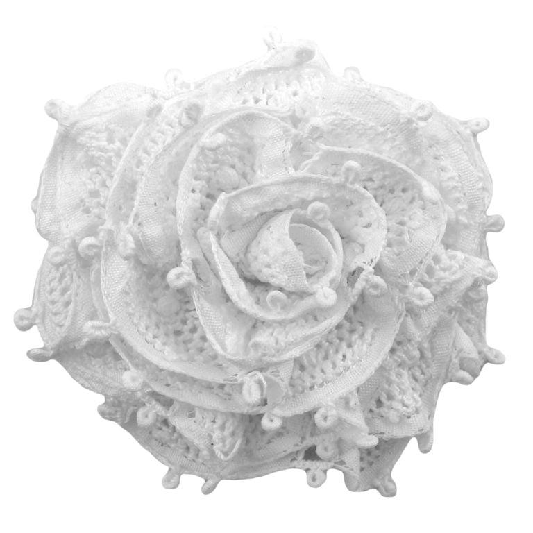 Flor para Cabelo Renda Renascença com Bico de Pato M