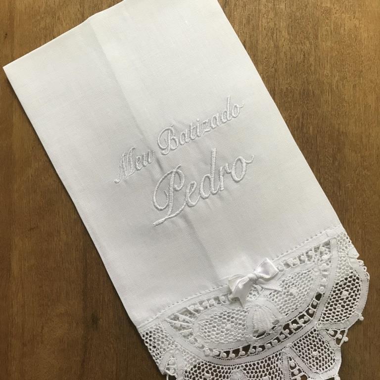 Toalha Batizado Personalizada Renda Renascença - Nome (média)