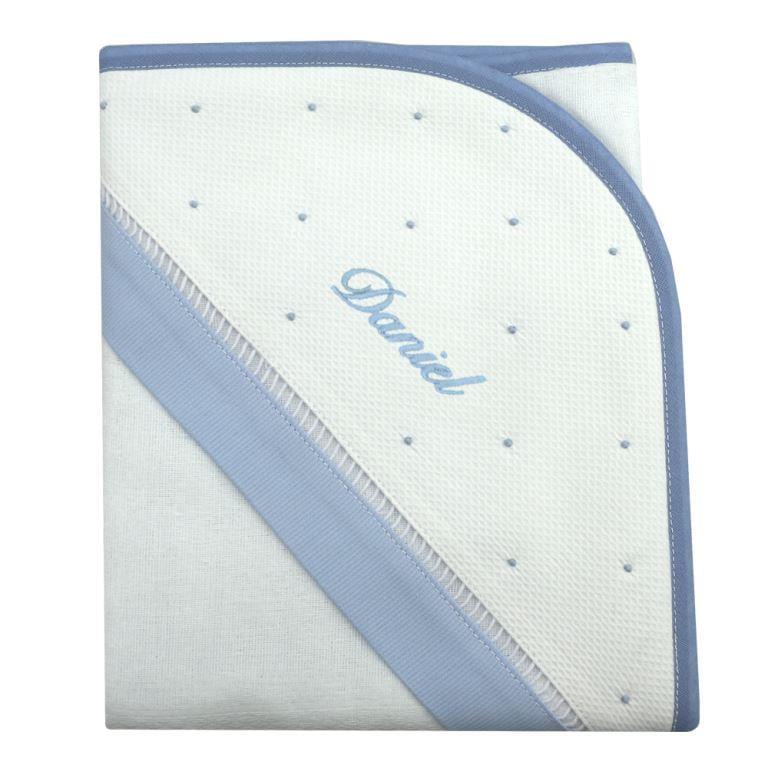 Toalha de banho com capuz personalizada azul