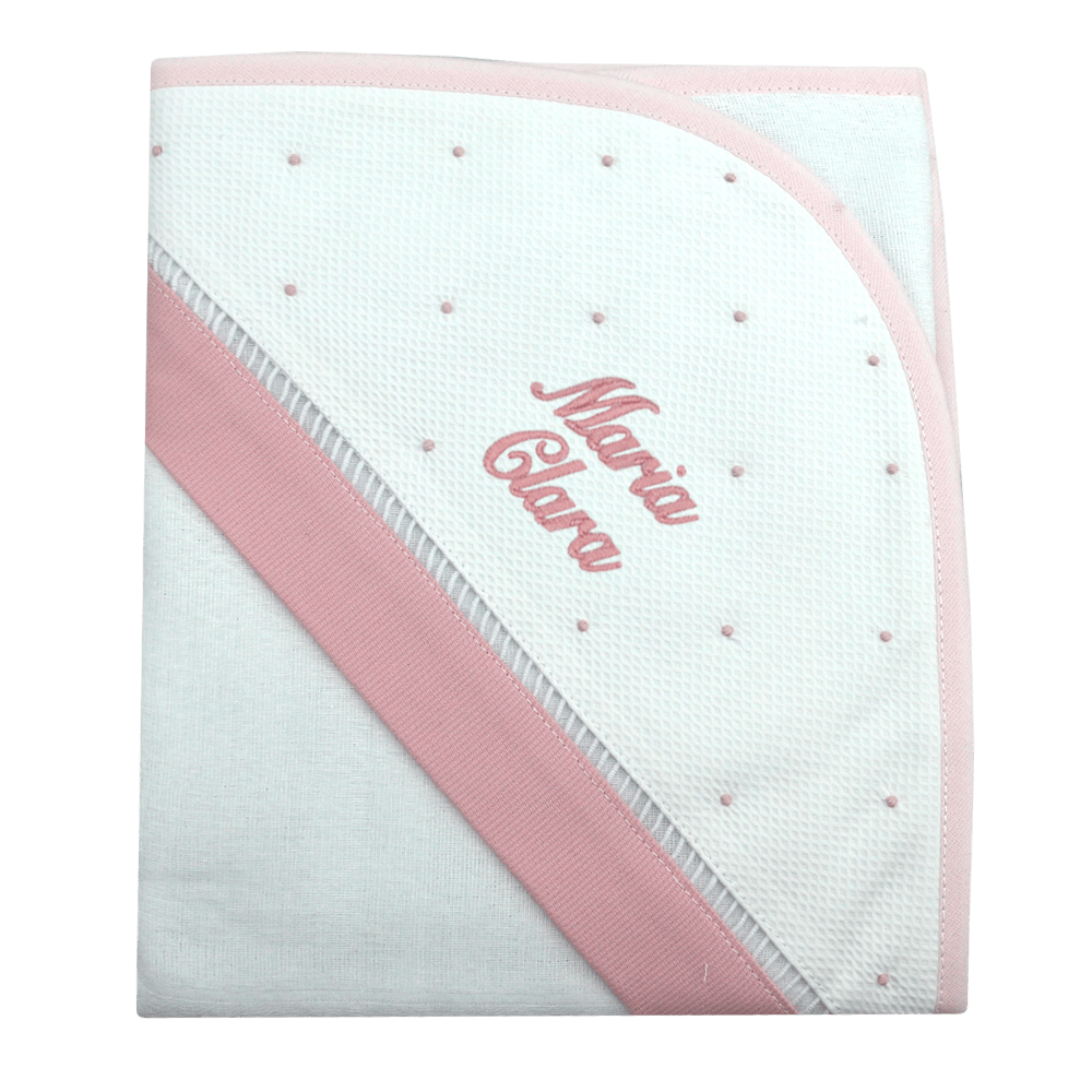 Toalha de banho com capuz personalizada rosa