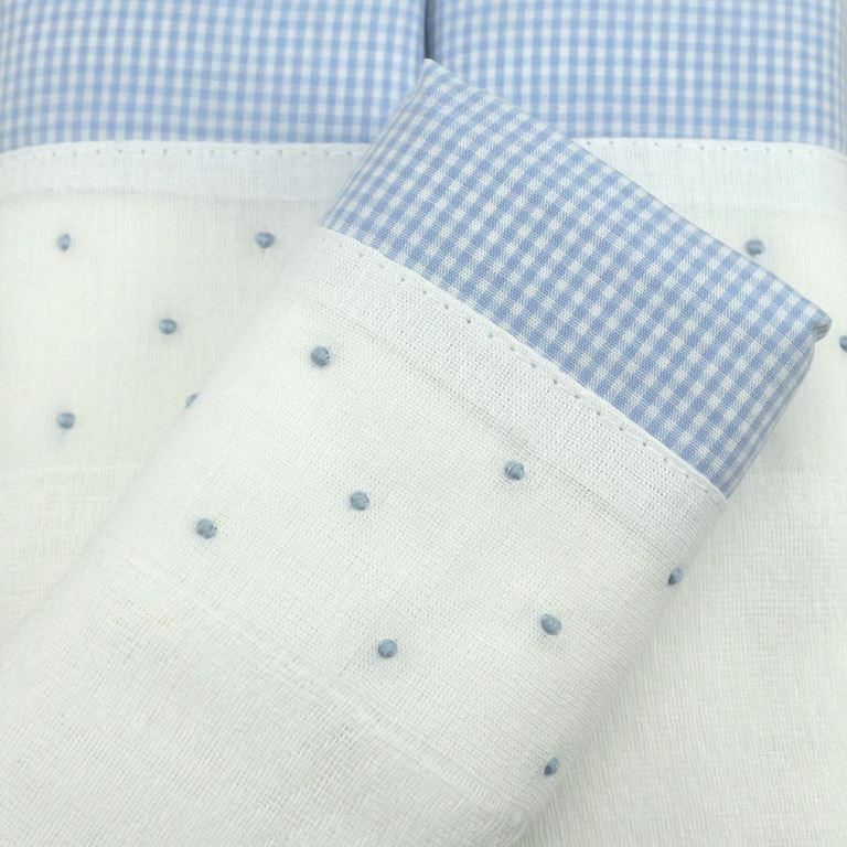 Fralda bordada poá azul - de R$ 19,98 a R$ 23,50 - Desconto Progressivo