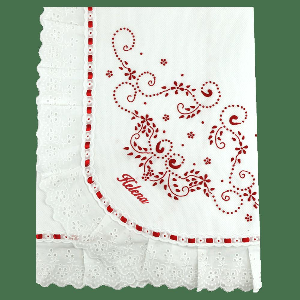 Manta Bordado Manual Vermelha Personalizada