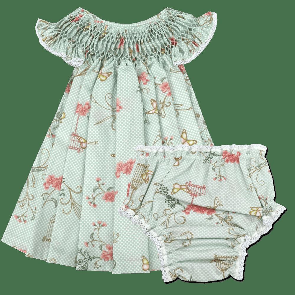 Vestido Casinha de Abelha Borboleta Poá Verde Água (6, 12, 18 e 24 meses) + Calcinha Floral Poá Verde Água