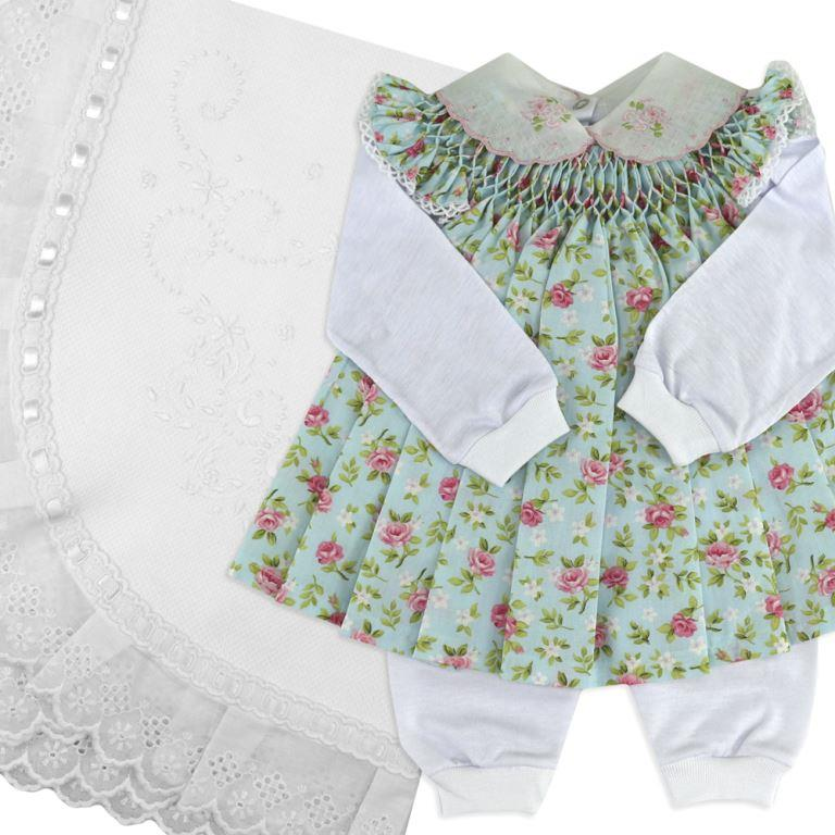 Saída De Maternidade Primavera (Vestidinho Pagão + Manta)