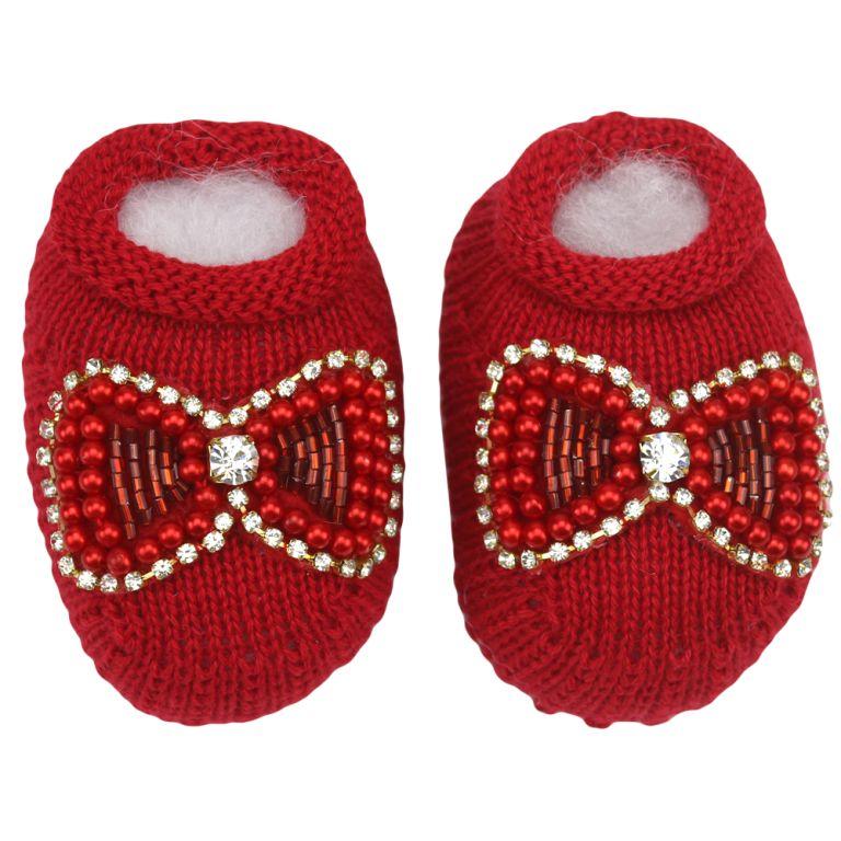 Sapatinho Bebê Tricô Vermelho Laço