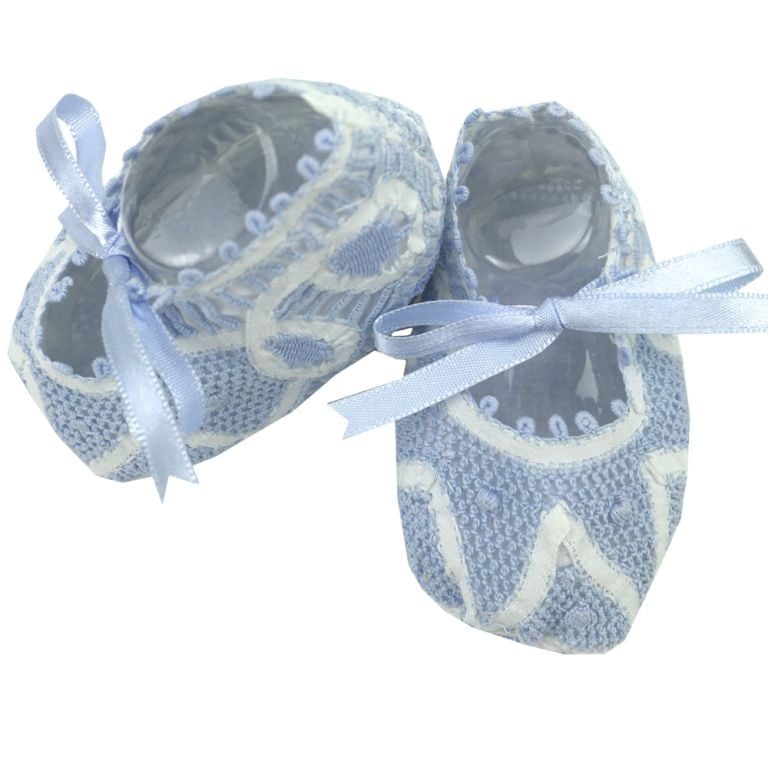 Sapatinho bebê Renda Renascença azul e branco (RN)