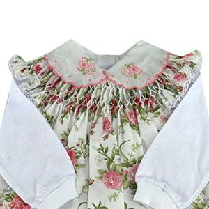 Vestido casinha de abelha com pagão Off White Floralzinho - 0 a 3 meses
