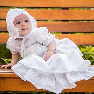 Mandrião Batizado Renda de Algodão Isa (3 a 9 meses)