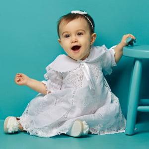 Vestido Renda Renascença Nesga Lágrima (6 e 12 meses)