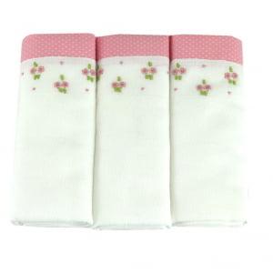 Fralda bordada duo floral rosa  - de R$ 19,98 a R$ 23,50 - Desconto Progressivo