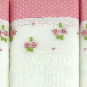Fralda bordada duo floral rosa (kit 3 unidades)