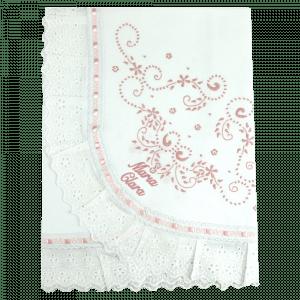 Manta Bordado Manual Rosa Personalizada