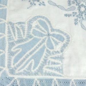 Manta Renda Renascença cambraia algodão iv branco e azul