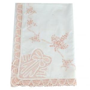 Manta Renda Renascença cambraia algodão iv branco e rosa