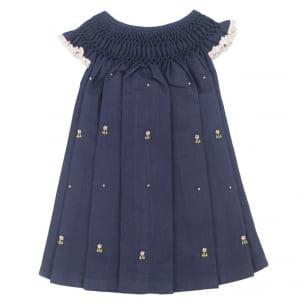 Vestido Casinha de Abelha Azul Marinho Flor (24 meses)