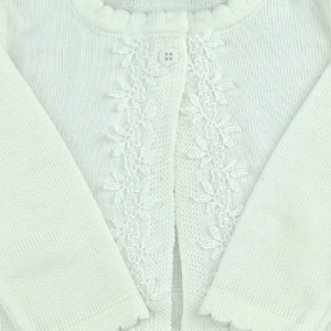 Casaquinho Tricô Off White (RN, 6, 12 e 24 meses)