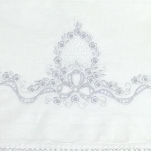 Cueiro Lençol de Xixi Richelieu Medalhão Branco