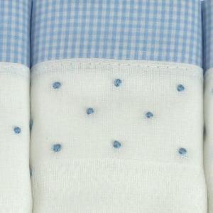 Fralda bordada poá azul (kit 3 unidades)