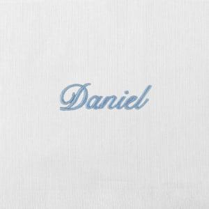 Fralda Personalizada Renda Renascença Nome Azul (até 2 nomes) - de R$ 50,92 a R$ 59,90 - Desconto Progressivo