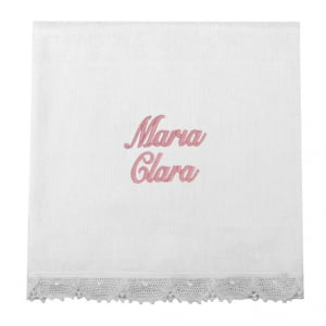 Fralda Personalizada Renda Renascença Nome Rosa (até 2 nomes) - de R$ 50,92 a R$ 59,90 - Desconto Progressivo