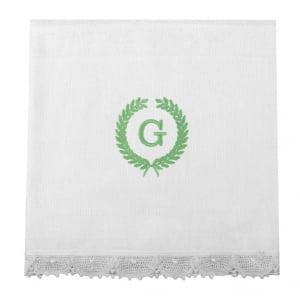 Fralda Personalizada Renda Renascença Ramos Iniciais Verde (até 2 letras) - de R$ 59,42 a R$ 69,90 - Desconto Progressivo