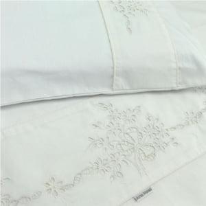 Jogo Lençol Berço Americano Margarida bordado Richelieu branco (3 peças)