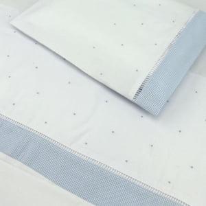 Jogo Lençol Berço Bordado Manual Poá Azul (2 peças)