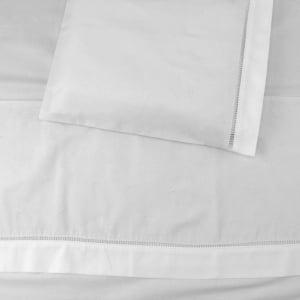 Jogo Lençol Bordado Manual Poá Branco (2 peças)