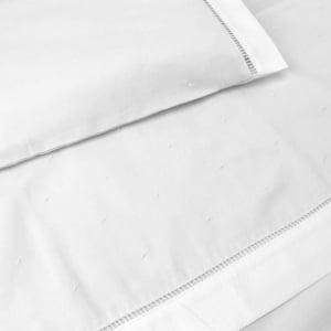 Jogo Lençol Berço Bordado Manual Poá Branco (2 peças)