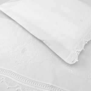 Jogo Lençol Renda Renascença Floral Branco Branco (2 peças)