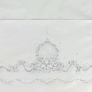 Jogo Lençol Richelieu Berço Americano Medalhão Branco (2 peças)