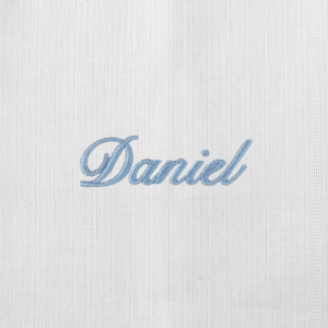 Pano Boca Personalizado Renda Renascença Nome Azul (até 2 nomes) - de R$ 33,92 a R$ 39,90 - Desconto Progressivo