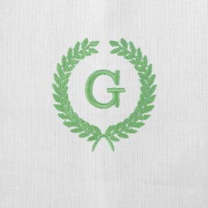 Pano Boca Personalizado Renda Renascença Ramos Iniciais Verde (até 2 letras) - de R$ 42,42 a R$ 49,90 - Desconto Progressivo
