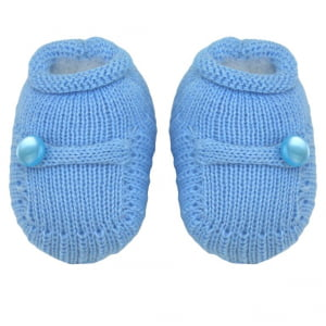 Sapatinho Bebê Tricô Azul Botão