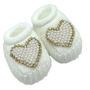Sapatinho Bebê Tricô Branco Coração