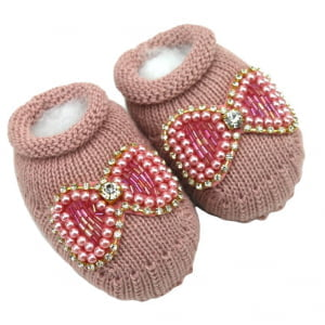 Sapatinho Bebê Tricô Rosa Seco Laço