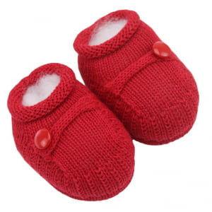 Sapatinho Bebê Tricô Vermelho Botão
