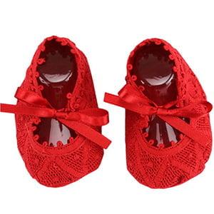 Sapatinho bebê Renda Renascença Vermelho (RN)