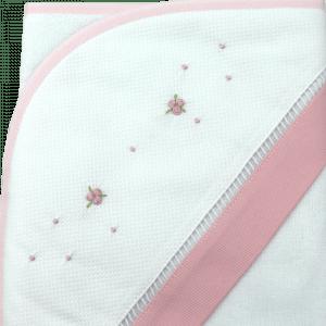 Toalha de banho com capuz rosa rococó