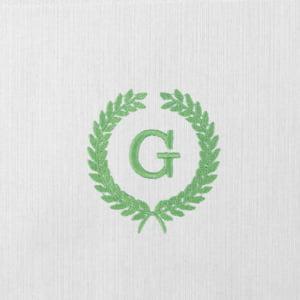 Toalha Fralda Personalizada Renda Renascença Ramos Iniciais Verde