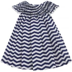 Vestido Casinha de Abelha Chevron Marinho (12 e 18 meses)
