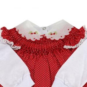 Vestido casinha de abelha com pagão poá vermelho (RN)