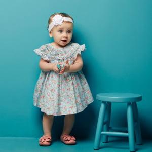 Vestido Casinha de Abelha Primavera (6, 12, 18 e 24 meses)