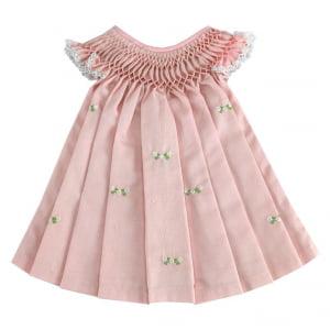 Vestido casinha de abelha rosa (6, 12, 18 e 24 meses)