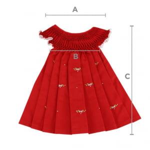 Vestido casinha de abelha vermelho (6, 12, 18 e 24 meses)