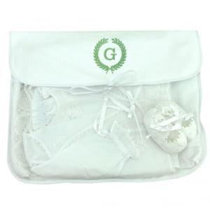 Saco Maternidade Ramos Iniciais Personalizado Verde (até 2 letras) - De R$ 49,60 a R$ 62,00 - Desconto Progressivo