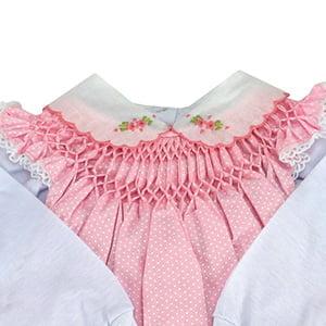 Vestido casinha de abelha com pagão poá rosa (RN)