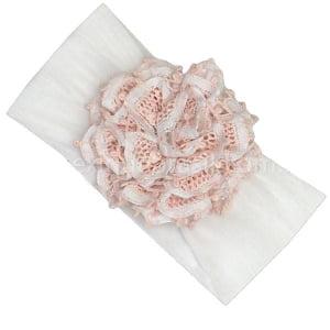 Tiara Faixa de Cabeça Renda Renascença Flor Rosa Pêssego e Branca